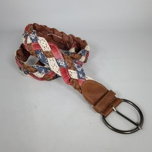 Cloth & Faux Leather Braided Belt